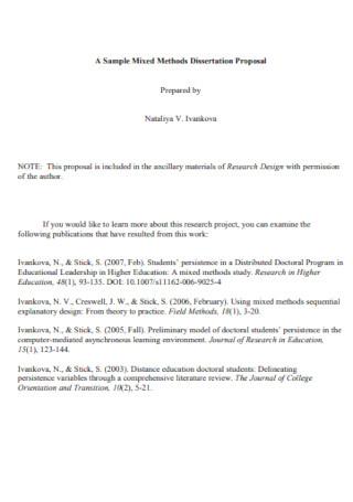 Sample Methods Dissertation Proposal