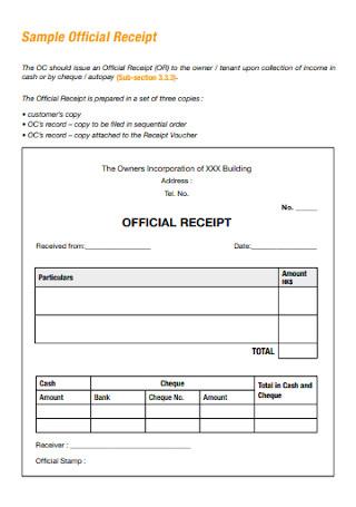 Sample Official Receipt Template