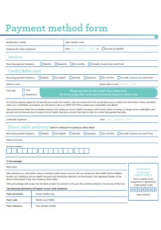 Sample Payment Method Form