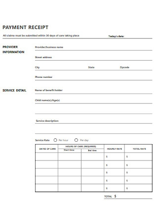 Sample Payment Receipt