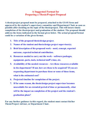 Sample Project Thesis Proposal