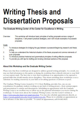 Sample Thesis and Dissertation Proposals