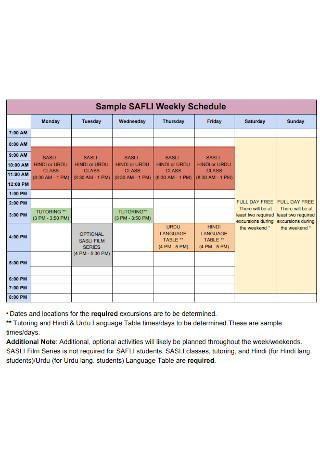 Sample Weekly Schedule Example