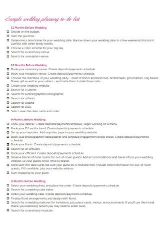 Sample wedding planning to do list