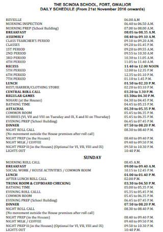 School Daily Schedule Template