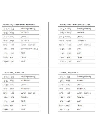 School Weekly Schedule