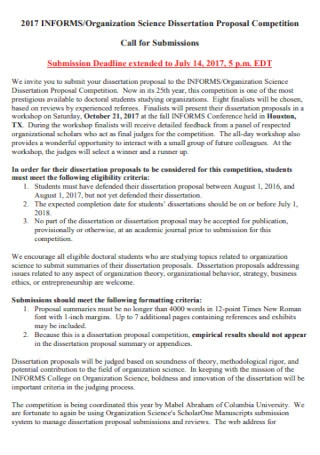 Science Dissertation Proposal Template