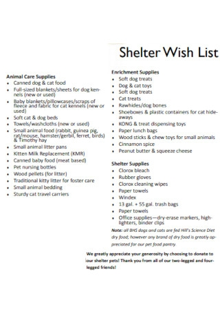Shelter Wish List