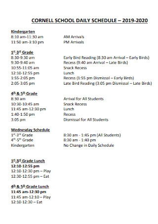 Simple School Daily Schedule