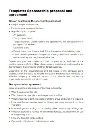 Sponsorship Proposal and Agreement