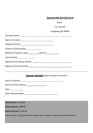 Sponsorship Receipt Form