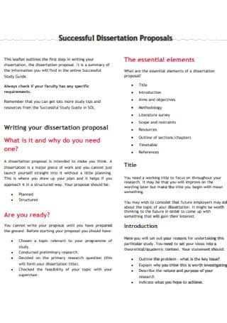 Standard Dissertation Proposal Template