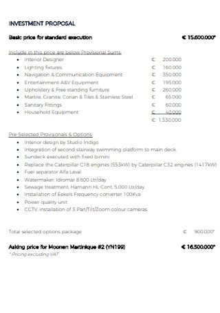 Standard Investment Proposal Template