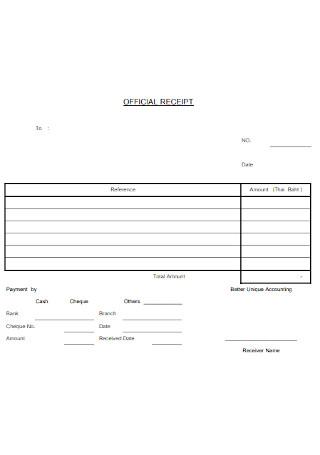 Standard Official Receipt Template