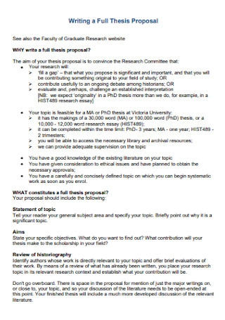 Standard Thesis Proposal Template