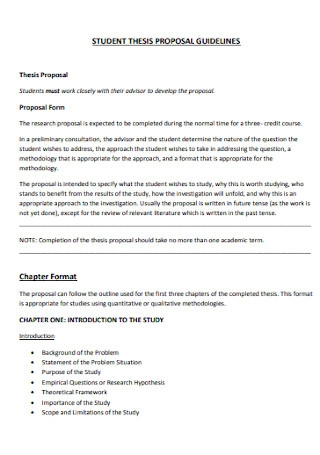 Student Thesis Proposal Template