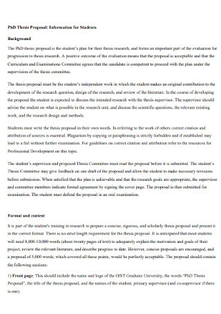 Student Thesis Proposal
