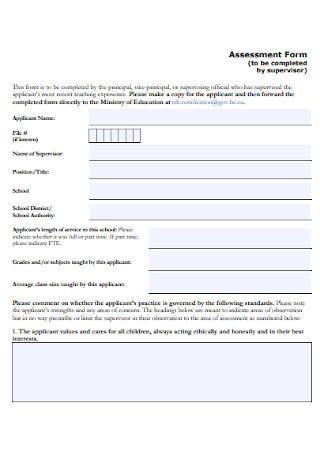 Supervisor Assessment Form