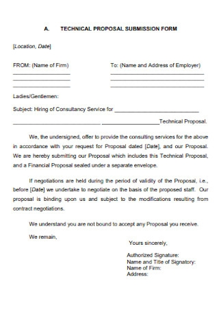 Technical Proposal Submission Form