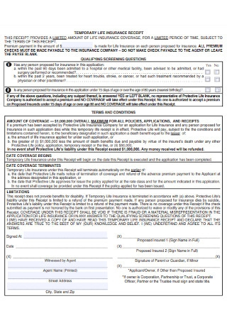Temporary Life Insurance Receipt