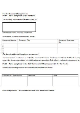Tender Document Receipt Form