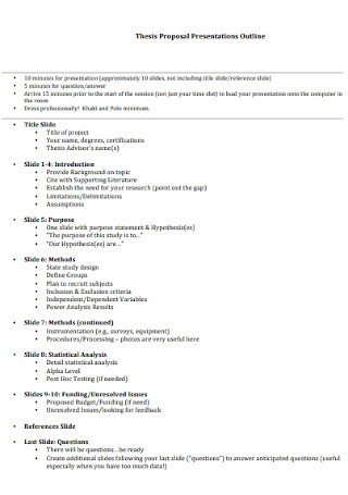 Thesis Proposal Presentations Outline