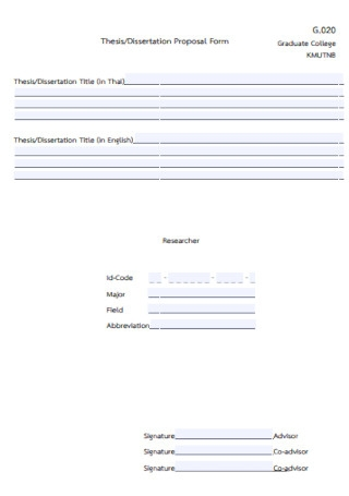Thesis and Dissertation Proposal Form