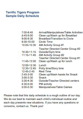 Tigers Program Daily Schedule