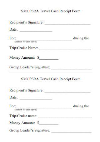 Travel Cash Receipt Form