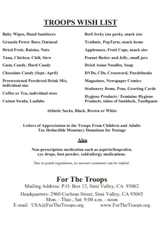 Troops Wish List Template