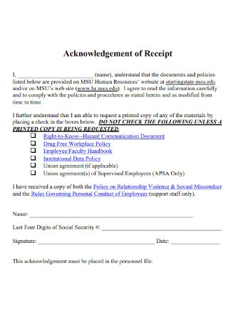 University Acknowledgement of Receipt