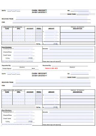 University Cash Receipt Template