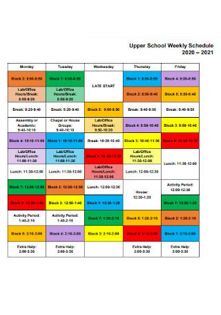 Upper School Weekly Schedule