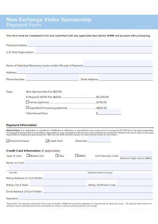 Visitor Sponsorship Payment Form