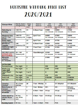 Wedding Price List Template
