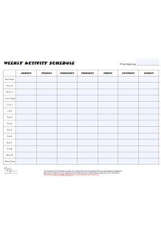 Weekly Activity Schedule