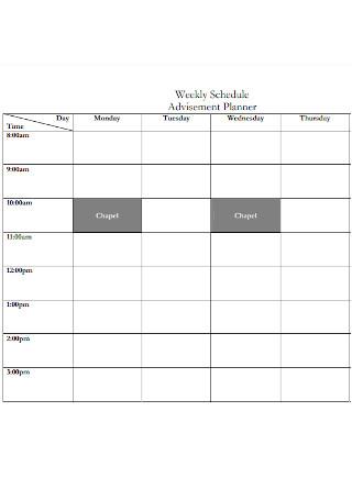 Weekly Advisement Planner Schedule