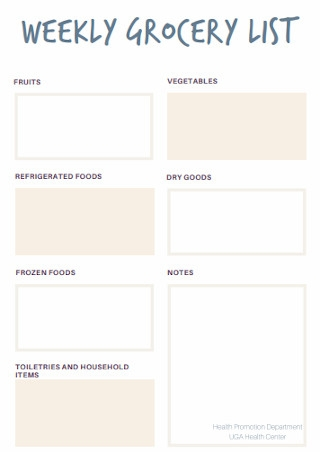 Weekly Grocery List Template