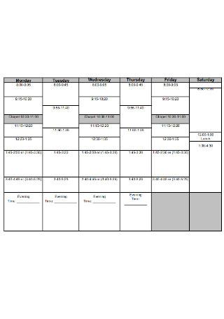 Weekly Planning Schedule Template