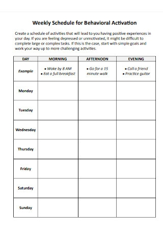 Weekly Schedule for Behavioral Activation
