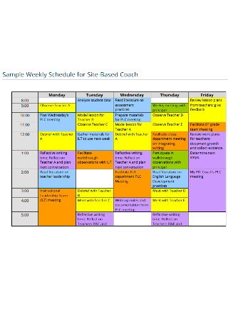 Weekly Schedule for Site Based Coach