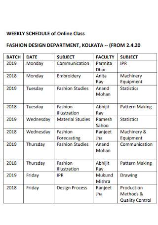 Weekly Schedule of Online Classes