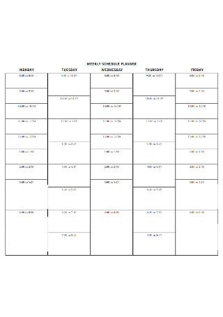 Weekly Shedule Planner Template