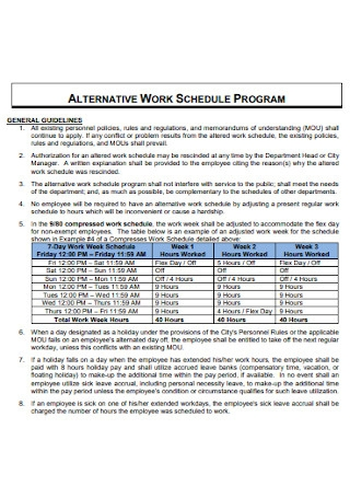 Work Program Schedule Template