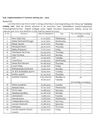 implementation of Common Holiday List