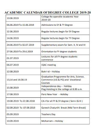 Academic Calendar for Degree College