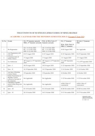 Academic Calendar for Monsoom Semester