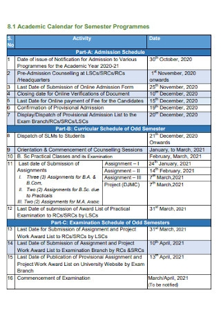 Academic Calendar for Semester Programmes