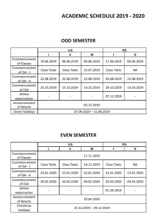 Academic College Schedule Template