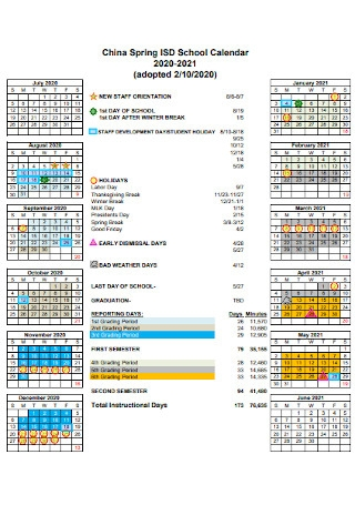 Academic School Calendar